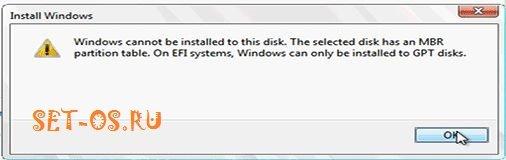 Установка windows на данный диск невозможна. На выбранном диске находится таблица mbr-разделов.