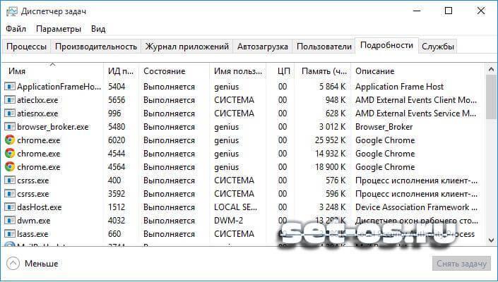 основные процессы в windows 10