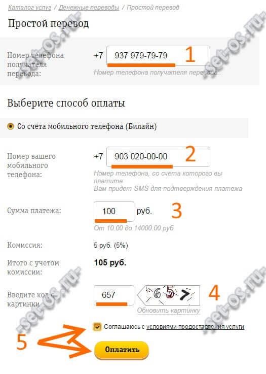простой перевод денег с beeline