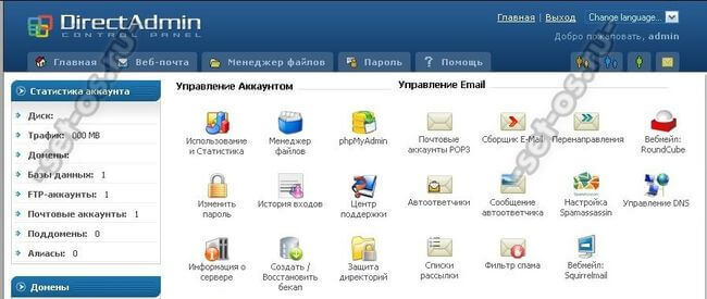 веб интерфейс сайта управление хостингом