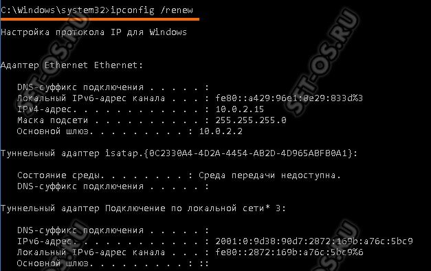 команда ipconfig renew