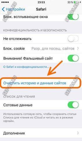 чистить историю и данные сайтов на iphone