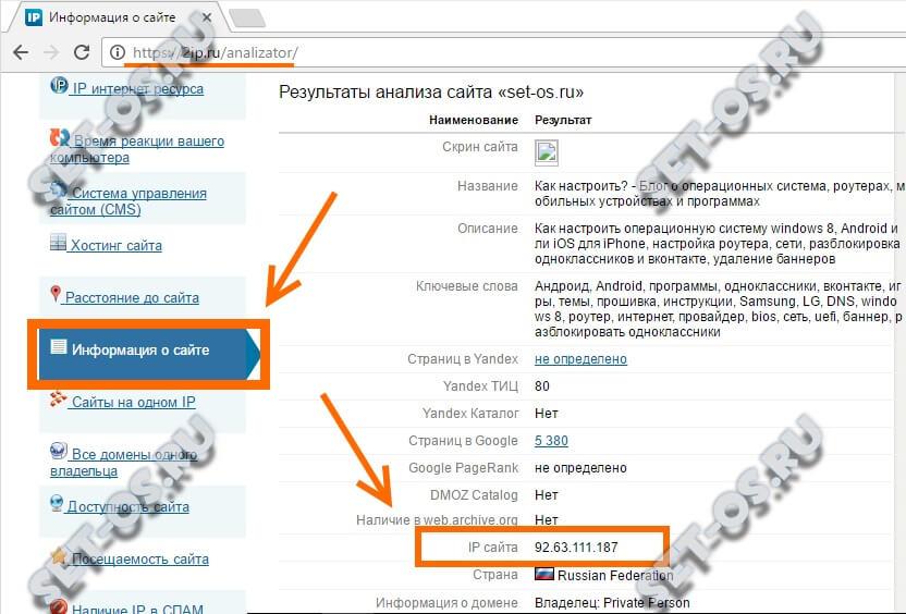 определение ip по адресу сайта онлайн