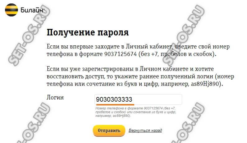 логин и пароль на ЛК билайн